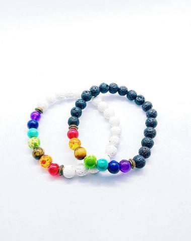 Bracelet 7 chakras (noir ou blanc)