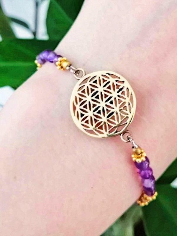 Bracelet fleur de vie + Améthyste
