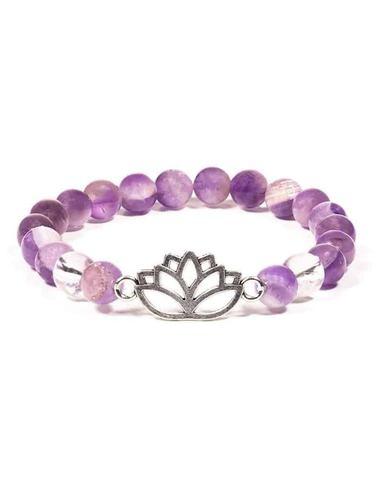 Bracelet Améthyste / Cristal de roche / Lotus