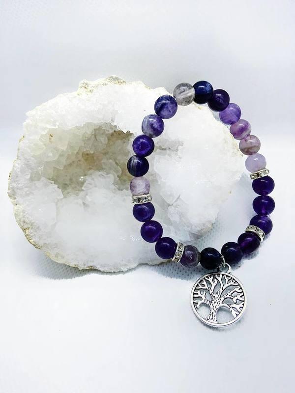 Bracelet Améthyste / Cristal de Roche / Arbre de vie